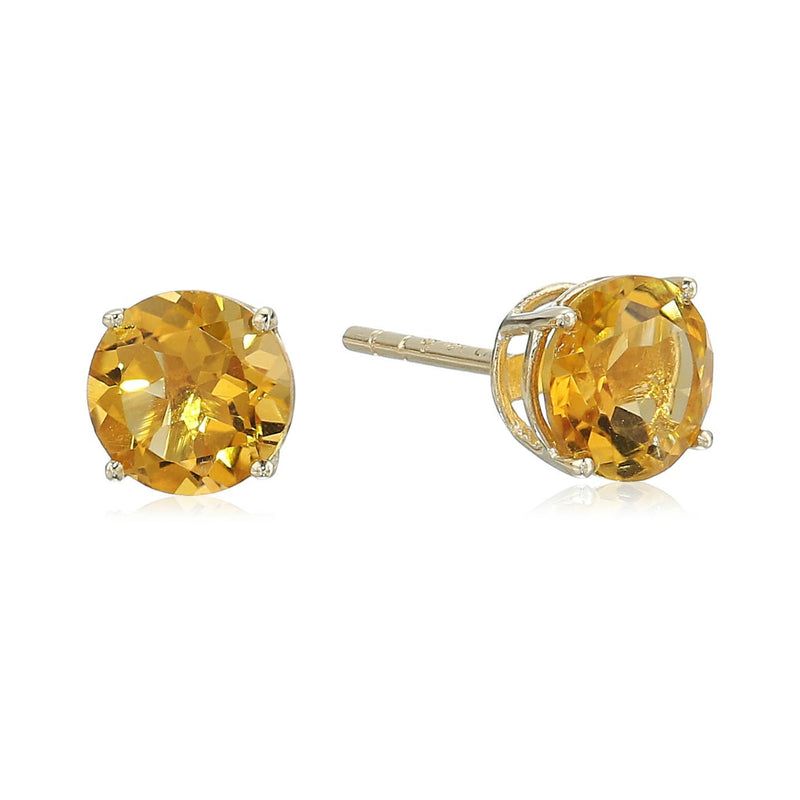 10k Yellow Gold Citrine Round Stud Earrings - pinctore