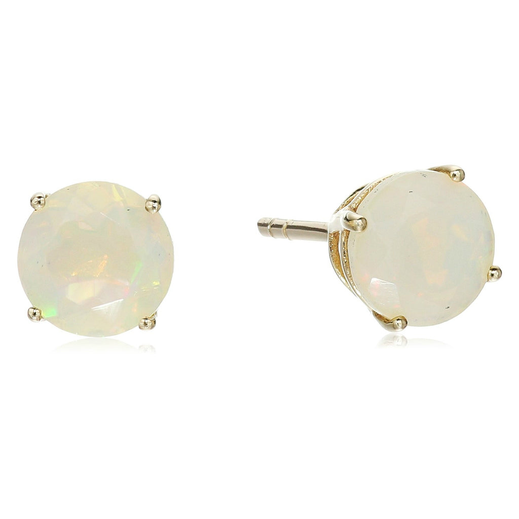 10k Yellow Gold Ethiopian Opal Round Stud Earrings - pinctore