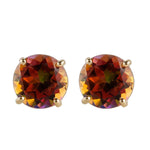14k Yellow Gold Sunset Topaz Round Stud Earrings - pinctore