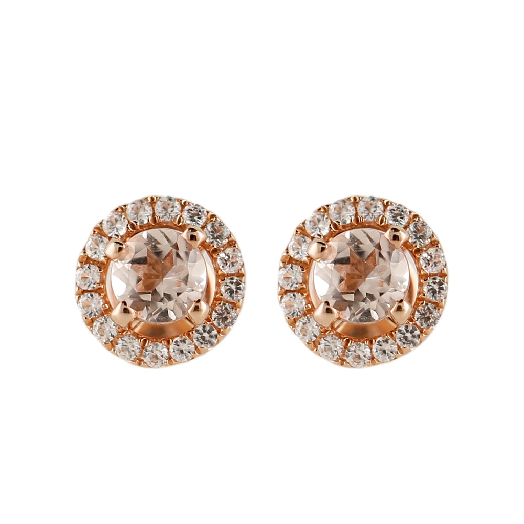 10k Rose Gold Morganite and Created White Sapphire Round Halo Stud Earrings - pinctore