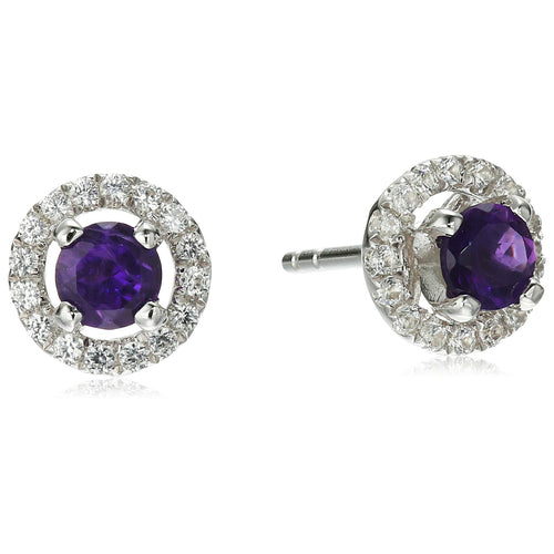 Sterling Silver African Amethyst and Created White Sapphire Halo Stud Earrings - pinctore