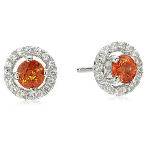 Sterling Silver Orange Sapphire and Created White Sapphire Halo Stud Earrings - pinctore