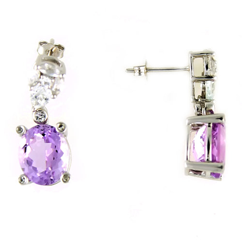 Pinctore Sterling Silver 7.67ctw Pink Amethyst and White Topaz Drop & Dangle Earring 1.00'L