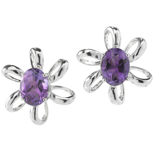 Pinctore Rhodium o/Sterling Silver 2.26ctw African Amethyst Oval Flower Stud Earrings - pinctore