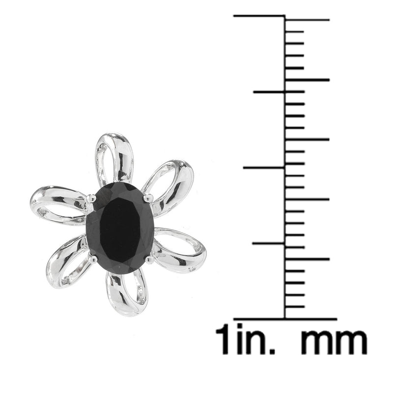 Pinctore Sterling Silver 3ctw Oval Black Spinel Flower Stud Earrings 0.6'L