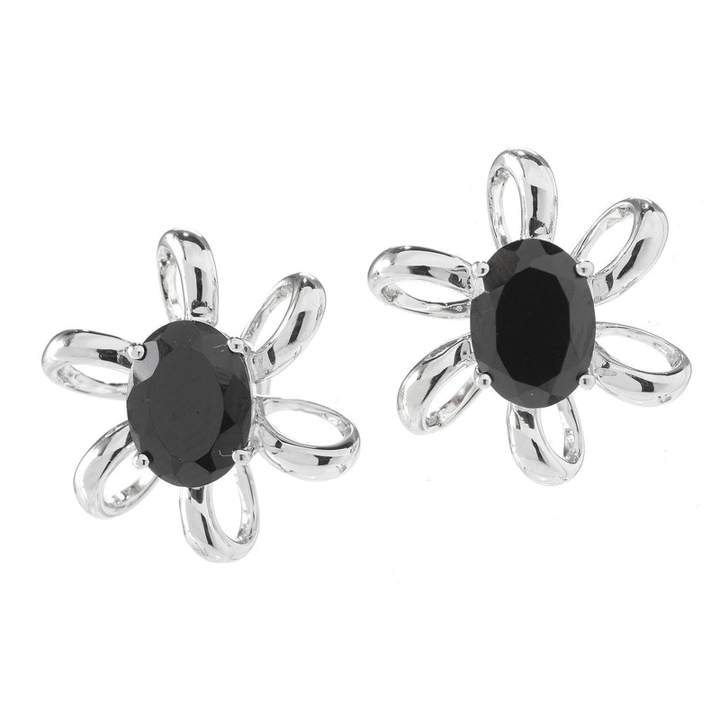 Pinctore Rhodium o/Sterling Silver 3ctw Oval Black Spinel Flower Stud Earrings 0.6'L - pinctore