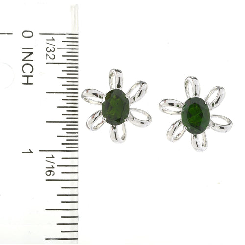 Pinctore Sterling Silver 2.73ctw Chrome Diopside Oval Flower Stud Earrings