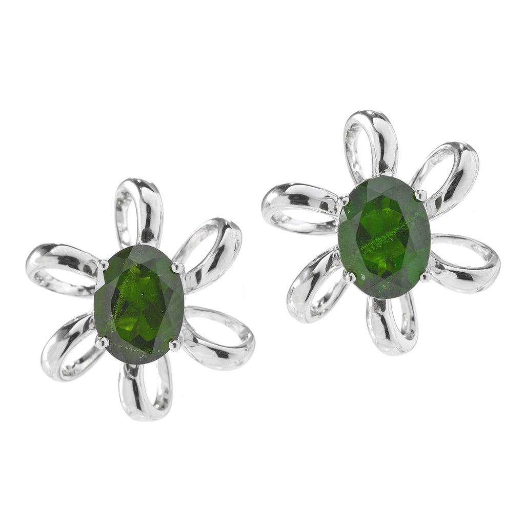 Pinctore Rhodium o/Sterling Silver 2.73ctw Chrome Diopside Oval Flower Stud Earrings - pinctore