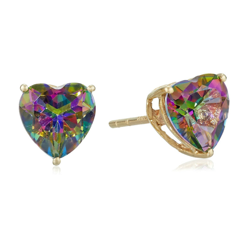 10Kt Gold Heart Shaped Mystic Topaz Stud Earring