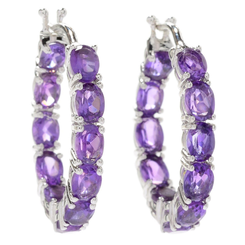 Pinctore Rhodium Over Sterling Silver 3.22ctw African Amethyst Hoops Earring 0.75'L - pinctore