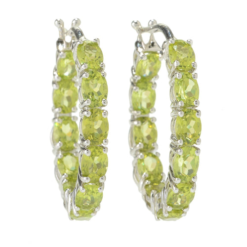 "Sterling Silver Peridot Oval Inside Out Hoop Earrings, 0.75"" - pinctore"
