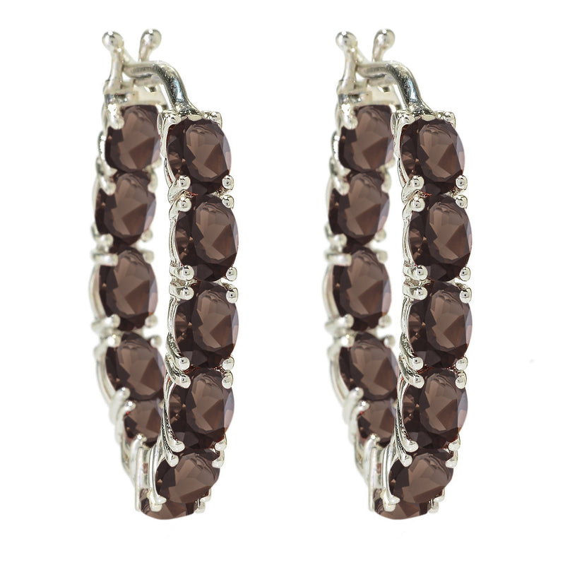 925 Sterling Silver Smoky Quartz Hoop Earring