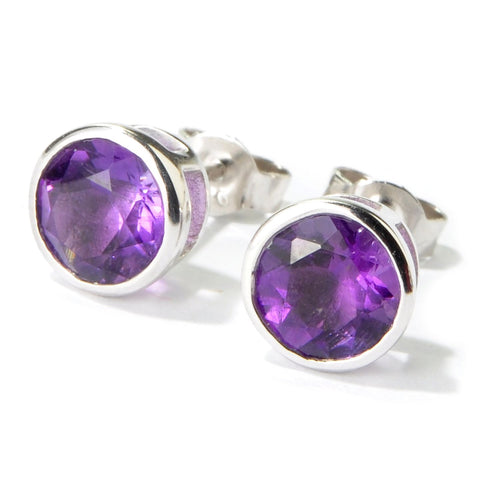 Pinctore Rhodium Over Sterling Silver 2.21ctw African Amethyst Stud Earrings - pinctore