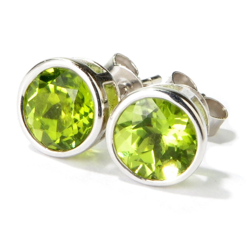 Pinctore Rhodium Over Sterling Silver 2.79ctw Peridot Stud Earrings - pinctore
