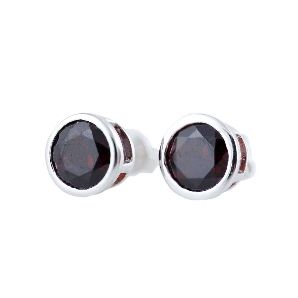 Pinctore Rhodium o/Sterling Silver 3.17ctw Red Garnet Earrings - pinctore