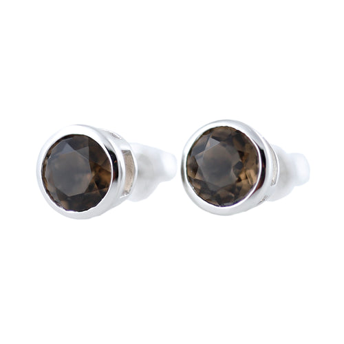 Pinctore Rhodium over Sterling Silver 2.47ctw Smoky Quartz Earrings - pinctore