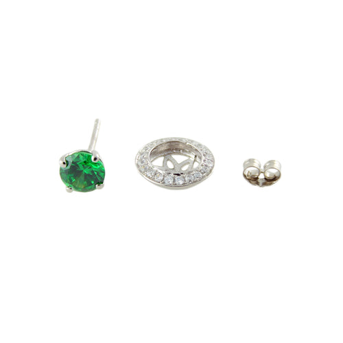 Pinctore Platinum o/Silver 3.42ctw Green Emerald Color CZ Studs Earring 0.43'L