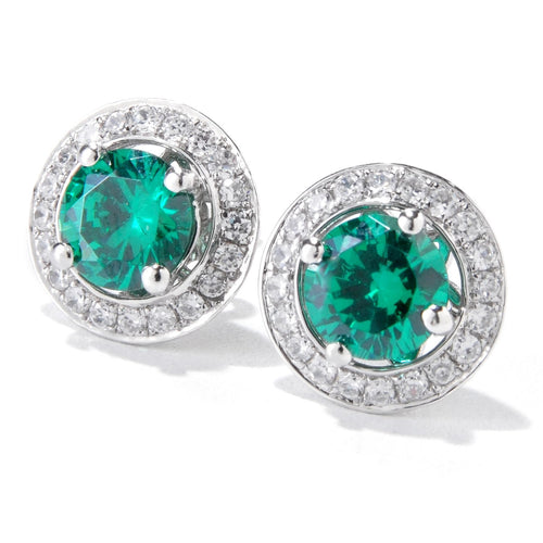 Pinctore Platinum o/Silver 3.42ctw Green Emerald Color CZ Studs Earring 0.43'L - pinctore