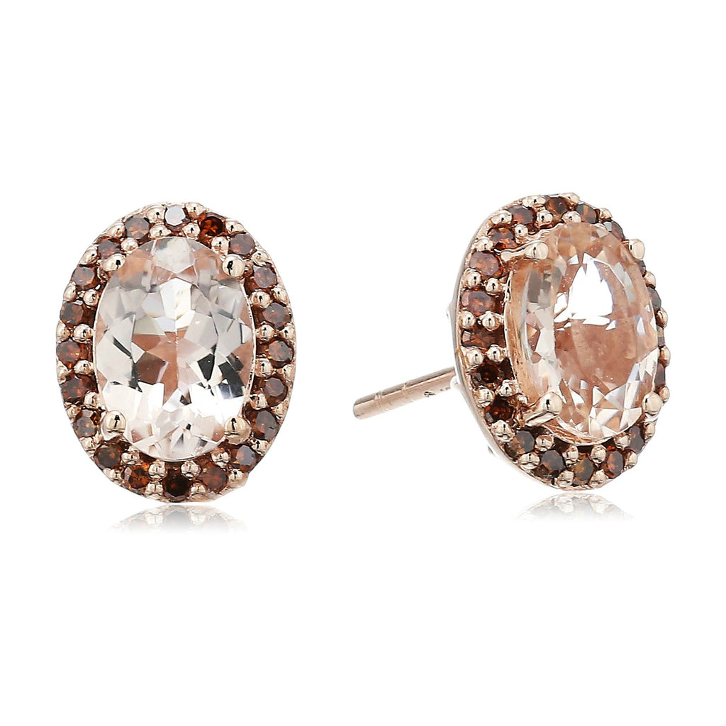 10k Rose Gold Morganite and Cognac Diamond (1/5 cttw) Halo Oval Stud Earrings - pinctore