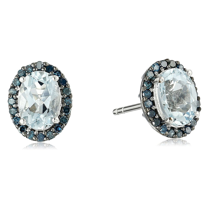 Pinctore 10k White Gold Aquamarine and Blue Diamond Halo Stud Earrings (1/5cttw, I-J Color, I2-I3 Clarity)