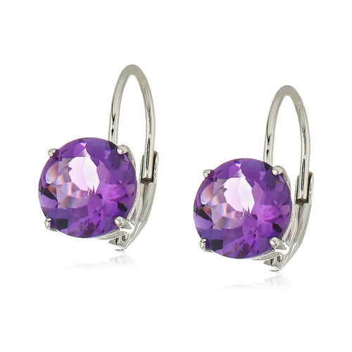 10k White Gold African Amethyst Round Lever Dangle Earrings - pinctore