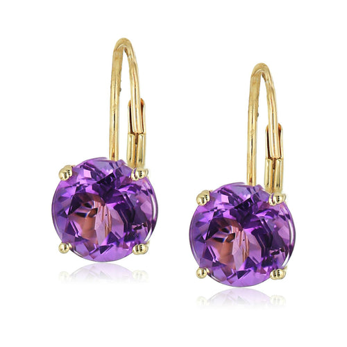 10k Yellow Gold African Amethyst Round Lever Dangle Earrings - pinctore