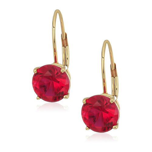 10k Yellow Gold Created Ruby Round Lever Dangle Earrings - pinctore