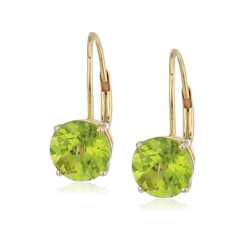 Pinctore 10k Rose Gold Peridot Round Lever Dangle Earrings