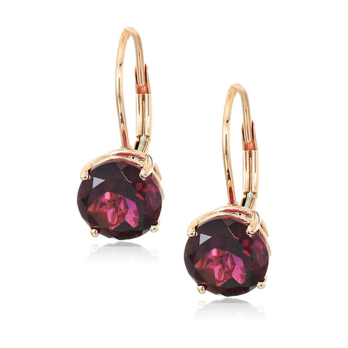 10k Yellow Gold Red Garnet Round Lever Dangle Earrings - pinctore