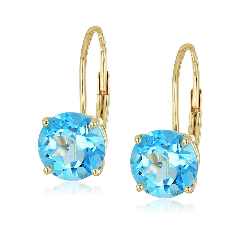 10k Yellow Gold Swiss Blue Topaz Round Lever Dangle Earrings - pinctore