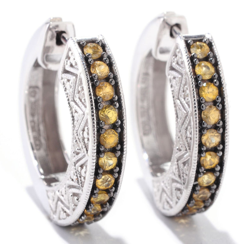 Pinctore Sterling Silver 1.14ctw Yellow Sapphire & Diamond Hoops Earring 0.93'L - pinctore