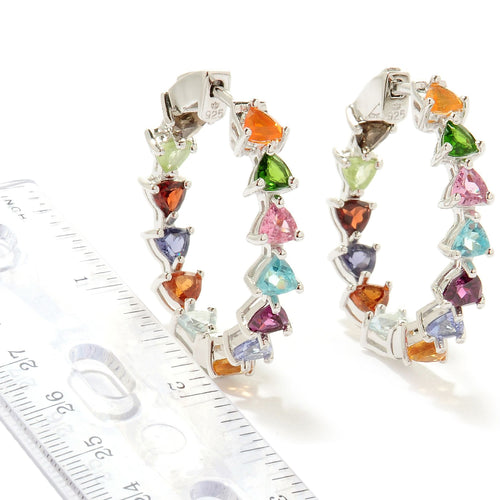 Pinctore Silver 6.3ctw Rhodolite & Multi Gemstones Kaleidoscope Inside-Out Earrings 1'L