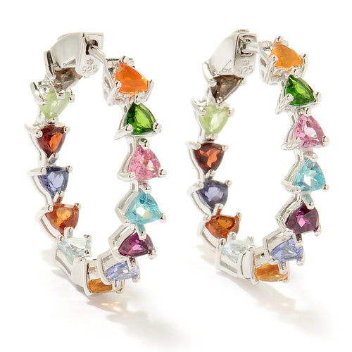 Pinctore Silver 6.3ctw Rhodolite & Multi Gemstones Kaleidoscope Inside-Out Earrings 1'L - pinctore