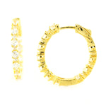 Pinctore Yellow Gold over Silver 4.11ctw White Natural Zircon Hoops Earring 1.00'L - pinctore