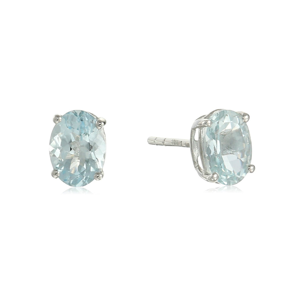 10k White Gold Aquamarine Oval Stud Earrings - pinctore