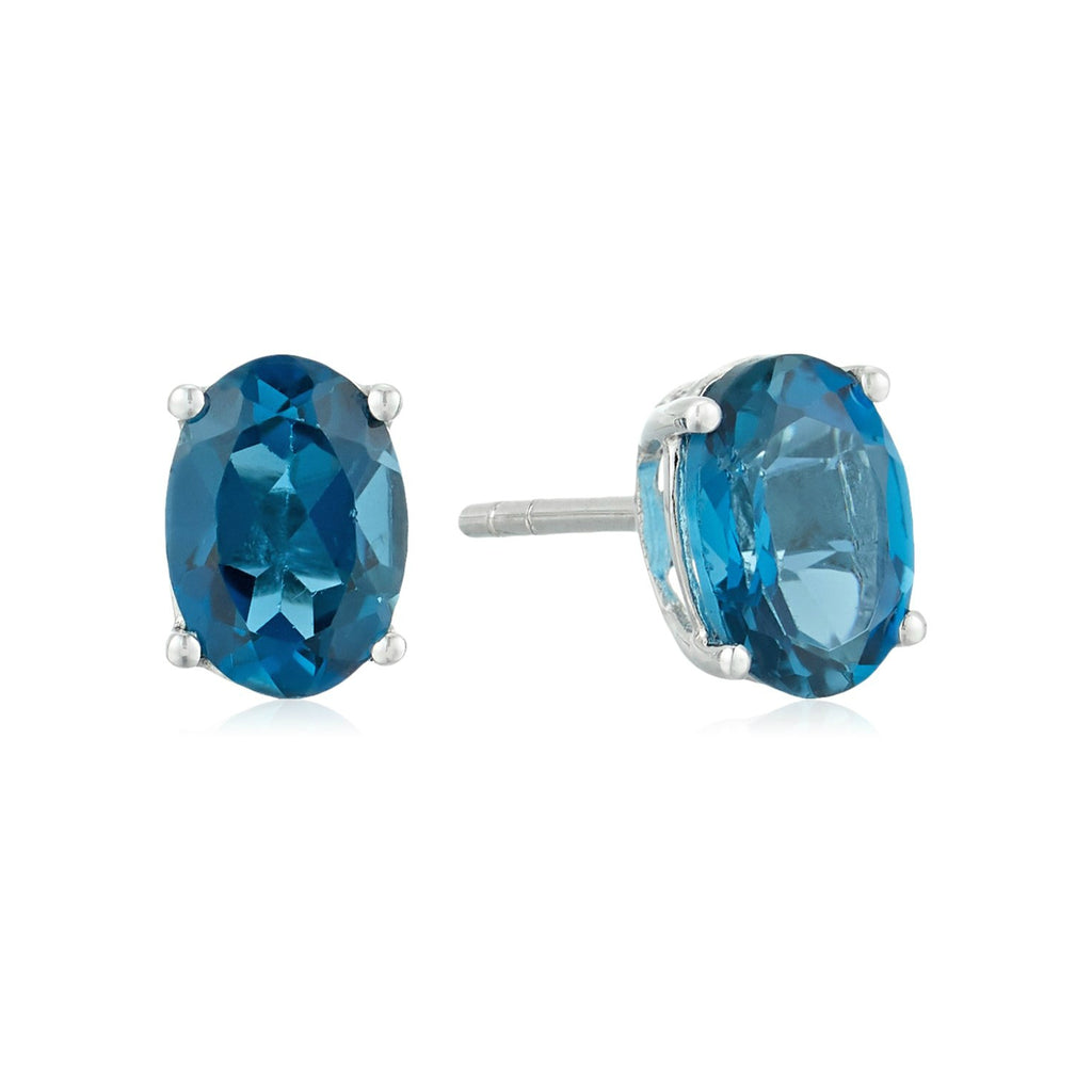 10k White Gold London Blue Topaz Oval Stud Earrings - pinctore