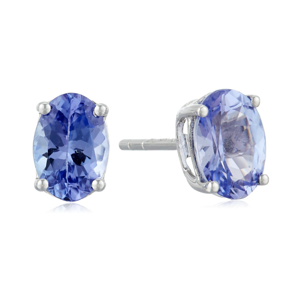 10k White Gold Tanzanite Oval Stud Earrings - pinctore