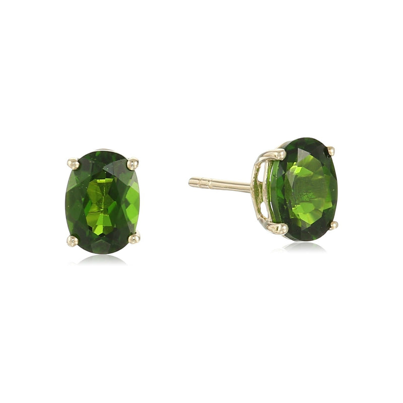 10k Yellow Gold Chrome Diopside Oval Stud Earrings - pinctore