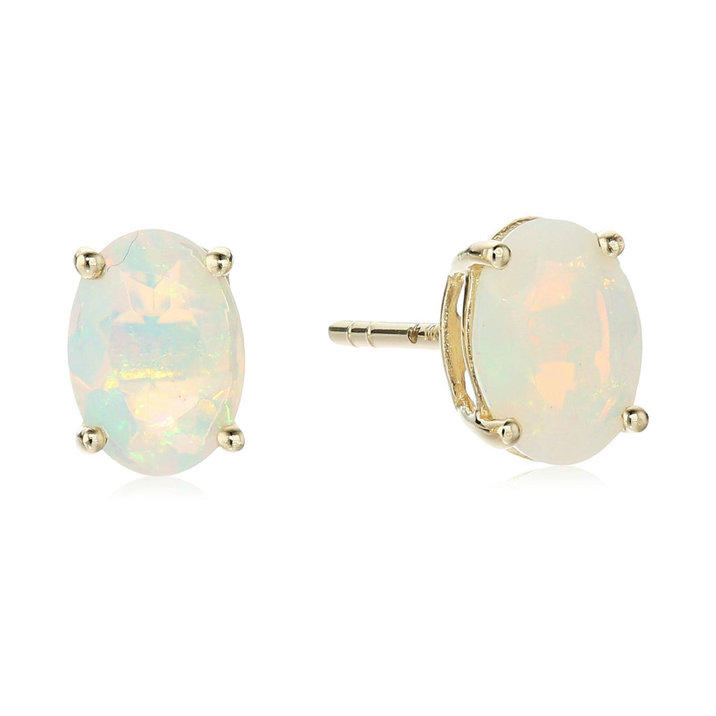 10k Yellow Gold Ethiopian Opal Oval Stud Earrings - pinctore
