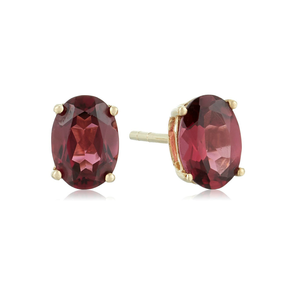 10k Yellow Gold Red Garnet Oval Stud Earrings - pinctore