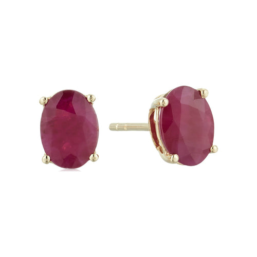 10k Yellow Gold Genuine Ruby Oval Stud Earrings - pinctore
