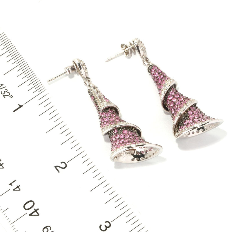 Pinctore Sterling Silver 8.29ctw Pink Spinel Drop & Dangle Earring 1.87'L