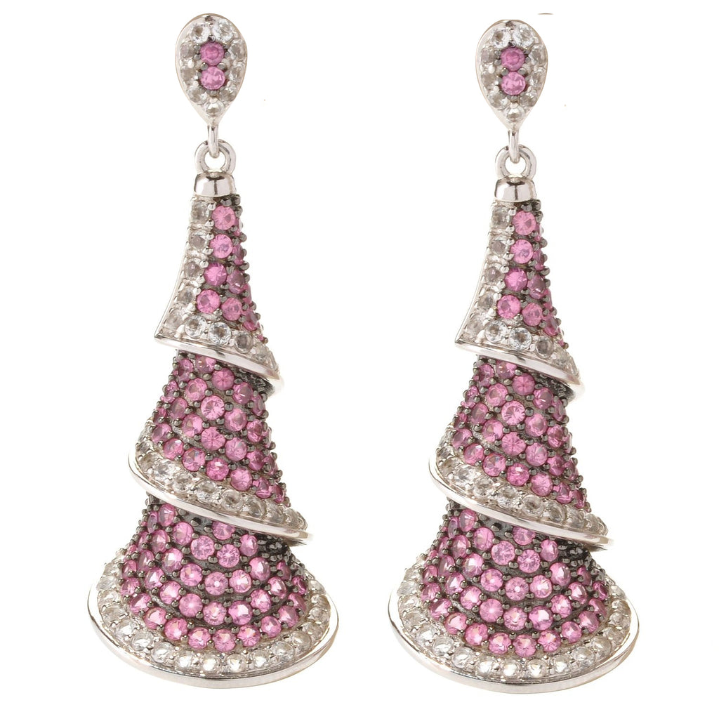 Pinctore Sterling Silver 8.29ctw Pink Spinel Drop & Dangle Earring 1.87'L - pinctore