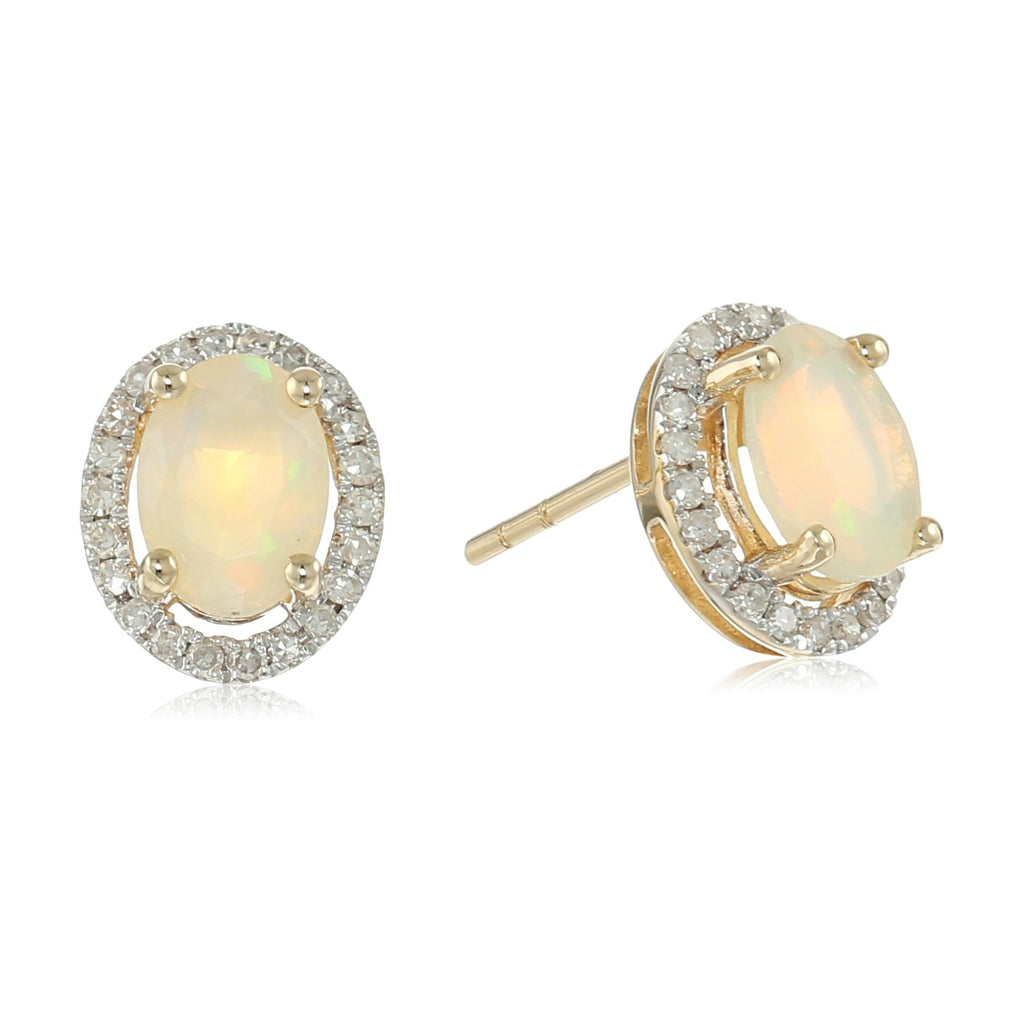 10k Yellow Gold Ethiopian Opal and Diamond Princess Diana Oval Halo Stud Earrings (1/5cttw, H-I Color, I1-I2 Clarity) - pinctore