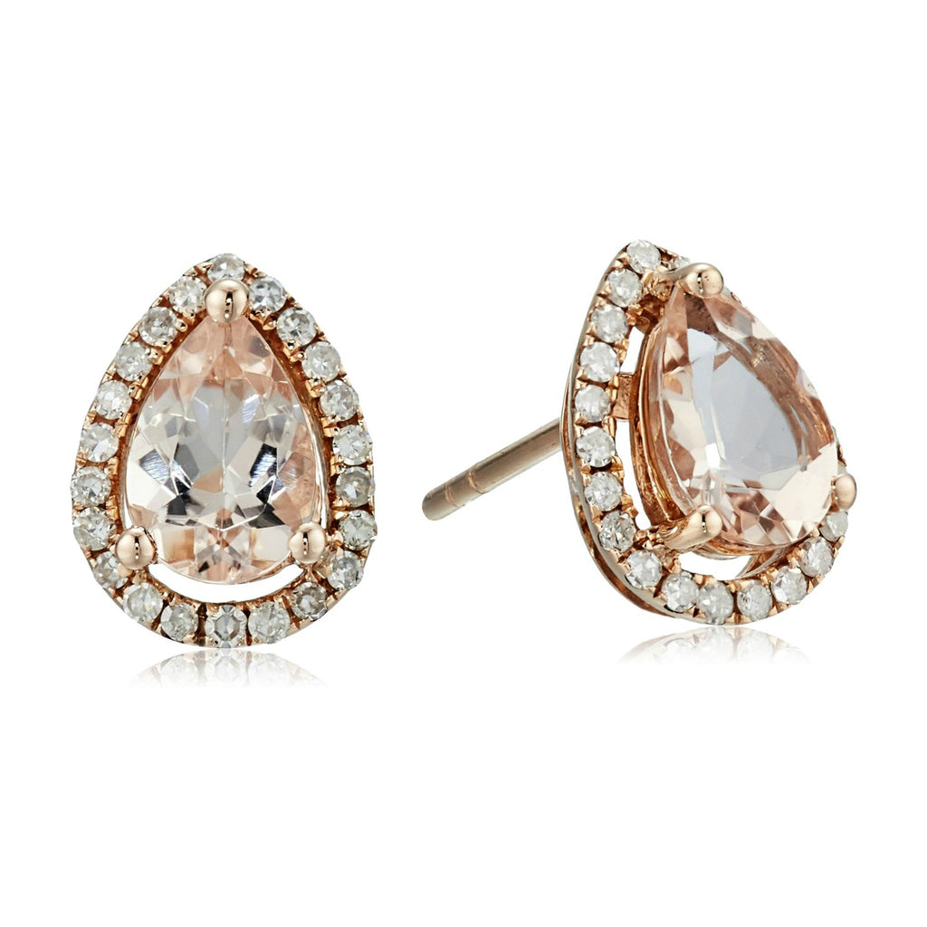 10k Rose Gold Morganite and Diamond Princess Diana Pear Halo Stud Earrings (1/5cttw, H-I Color, I1-I2 Clarity) - pinctore