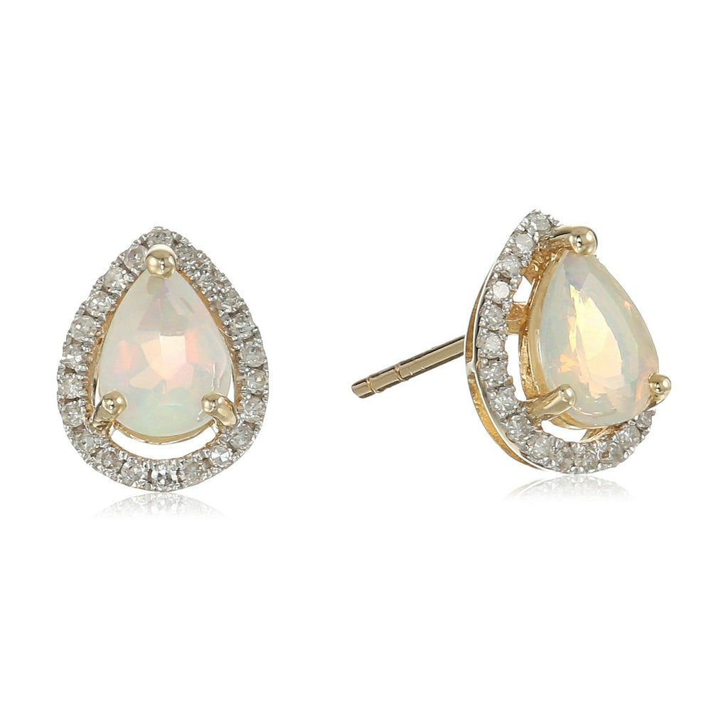 10k Yellow Gold Ethiopian Opal and Diamond Princess Diana Pear Halo Stud Earrings (1/5cttw, H-I Color, I1-I2 Clarity) - pinctore