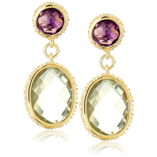 Pinctore Sterling SIlver 925 Created White Sapphire,Green Amethyst,Pink Amethyst Drop & Dengle Earring