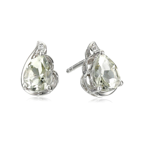 925 Sterling Silver Green Amethyst, Created White Sapphire Earring
