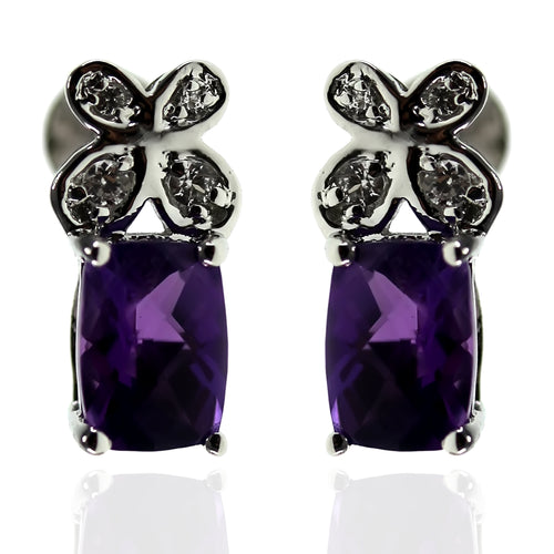 925 Sterling Silver African Amethyst,Created White Sapphire Stud Earring