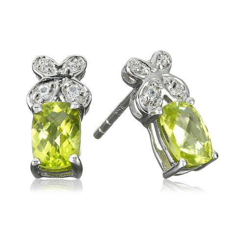 Pinctore Ster Silver Peridot & Created White Sapphire Butterfly Stud Earrings